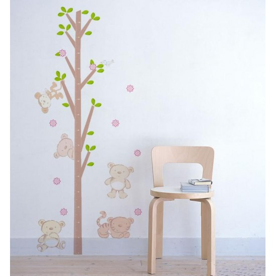 Bears around The Tree Growth Chart Wall Decal