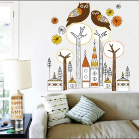 Two Owls on The Top of The Tree Wall Decal