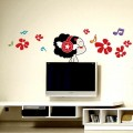 Girl in Music with Flower Wall Sticker