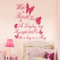 Butterfly And Ladybug Wall Quote