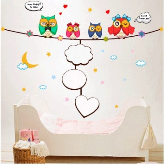 Photo Frame Hanging with Lovely Owls Quote Wall Decal