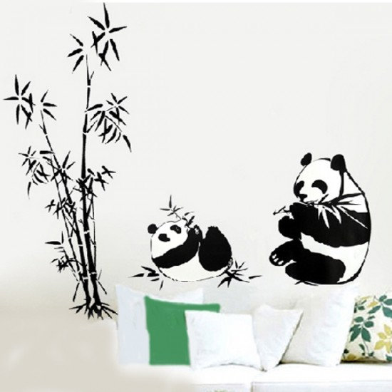 Pandas Eating Bamboo Vinyl Wall Sticker