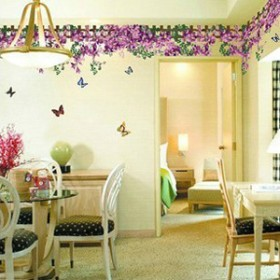 Purple Flowers And Butterflies Sticker