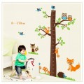 Animals And Tree Growth Chart Wall Sticker