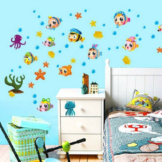 Cute Fish in Undersea World Bathroom Wall Decal