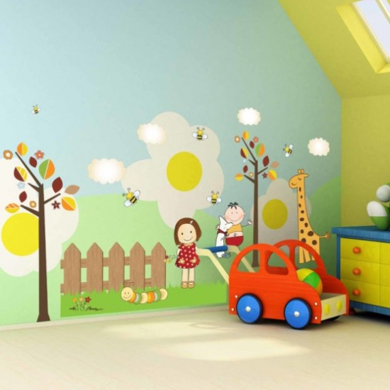 Little Children with Giraffe Tree Wall Decal