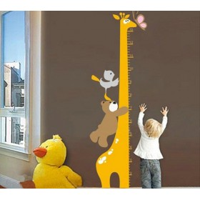 Bear, Birds with Giraffe Growth Chart Wall Decal