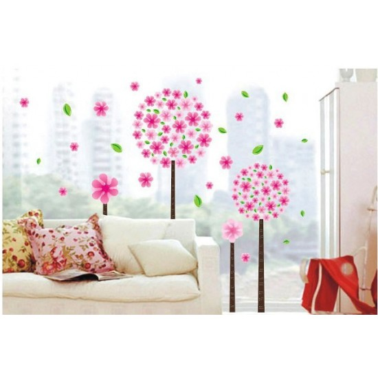 Pink Flowers And Green Leaves Removable Wall Decals