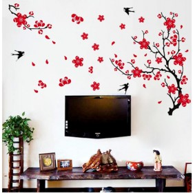 Red Plum Blossom and Black Birds