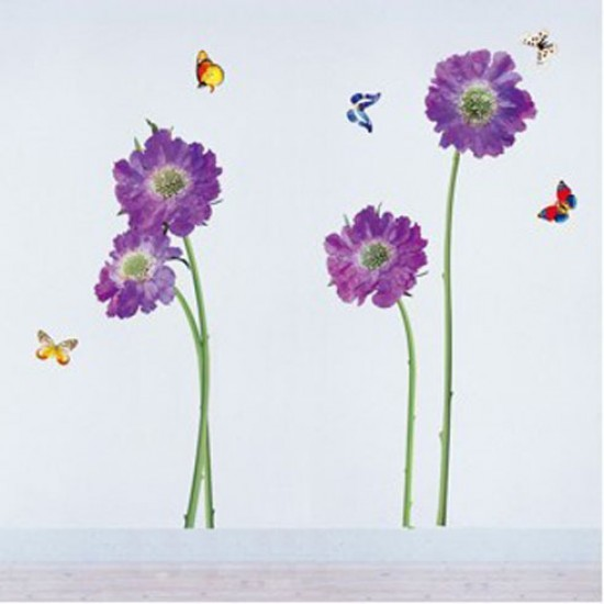 Purple Flowers with Butterflies Flying around