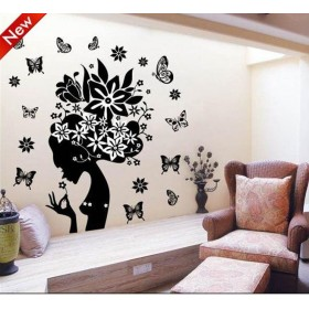 Black Floral Fairy Classical Wall Decals