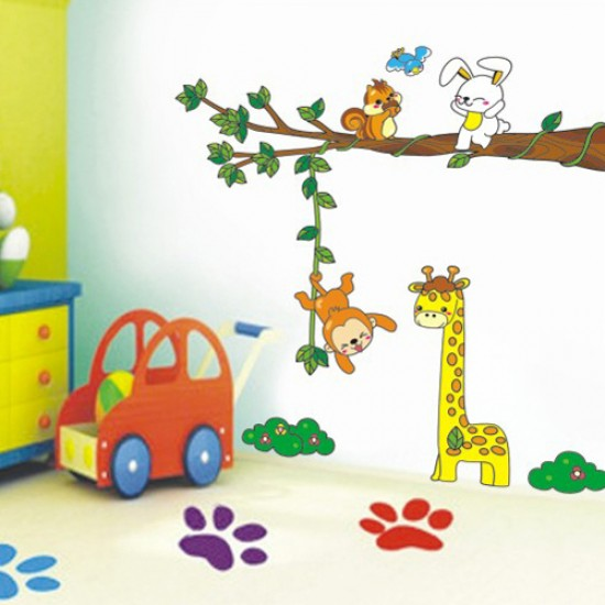 Jungle Animals - Elephant Giraffe Wall Decals