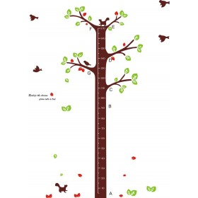 Birds Flying around The Tree Growth Chart Wall Sticker