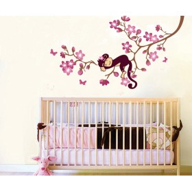 Sleeping on the Flower Branch Wall Decal