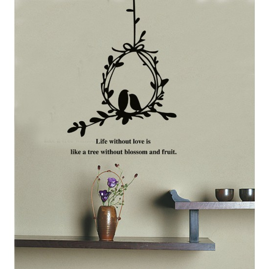 Olive Branch and Birds Wall Decal Sticker Love Quote