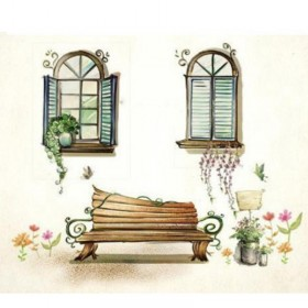 Painted Window and Chair Wall Art Stickers