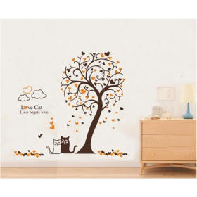 Love Cats Sitting Together Wall Art Decal