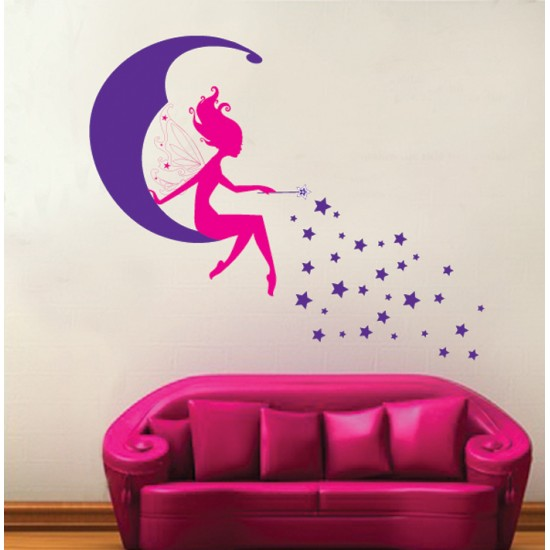 Fairy on The Moon Wall Decal