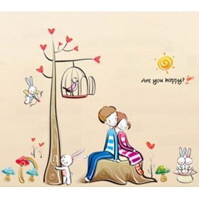 Sweet Heart Theme Wall Sticker & Boy And Girl