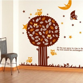 Brown Tree, Birds, Moon and Stars Wall Decal