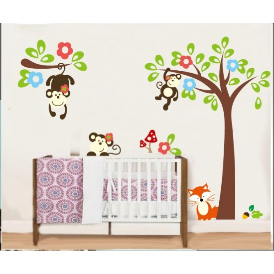 Monkeys swinging under Tree and Branches