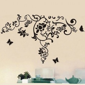 Black Flower Vine and Butterfly Wall Decal