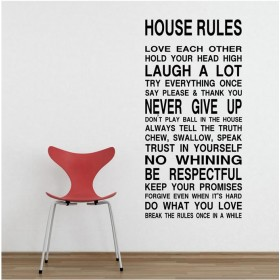 House Rules Wall Saying for Living-room