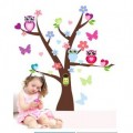 Colorful Owls and Butterflies Wall Art Decal