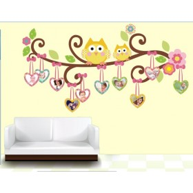 Cute Owls And Photo Frames Wall Decal