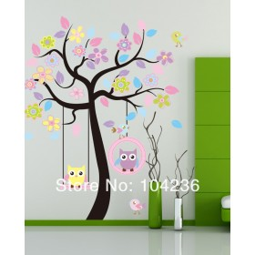 Cute Owls Swing under the Tree